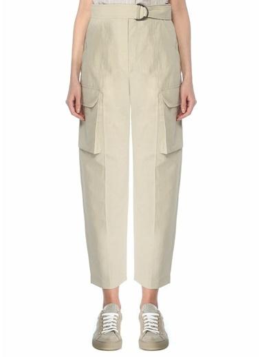 Brunello Cucinelli 101614068 Kemerli Kargo Cepli Taş Kadın Pantolon Taş